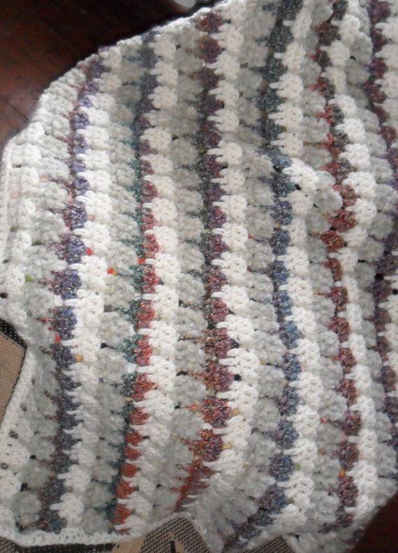 Afgano Larksfoot punto lapghan spessore gettare filato grosso coperta ciniglia grigio bianco vagante e multicolor Homespun righe
