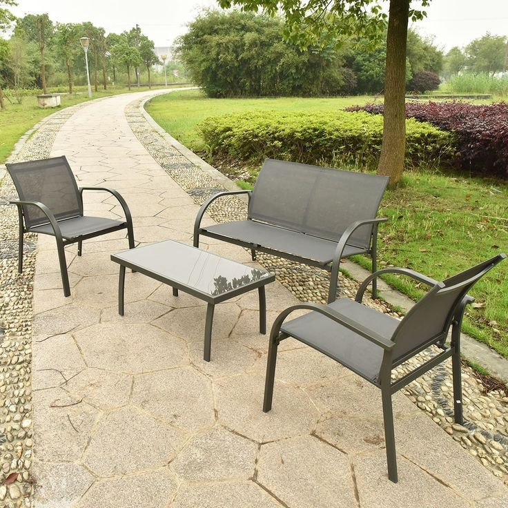 Costway 4PCS Patio Garden Furniture Set Steel Frame Outdoor Lawn Sofa Chairs  Table Gray, Grey