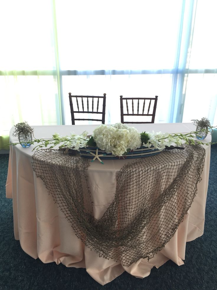 Sweetheart table beach nautical centerpiece