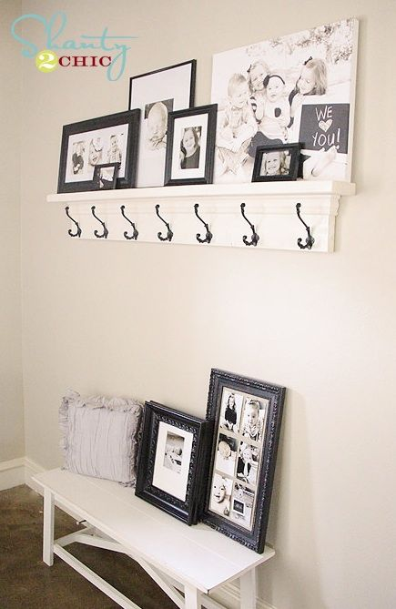 DIY Shelf with Hooks! So cheap and easy!!