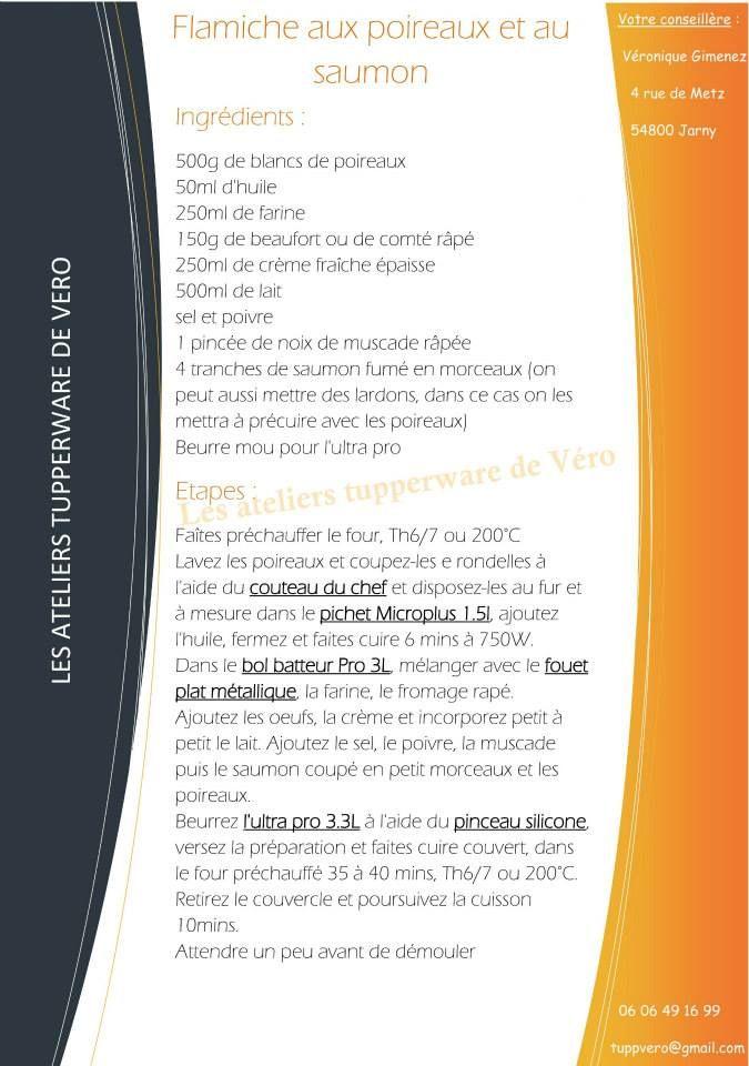 Flamiche aux poireaux et au saumon recette ultra pro https://www.facebook.com/Les-ateliers-tupperware-de-V%C3%A9ro-426295820791943/timeline/