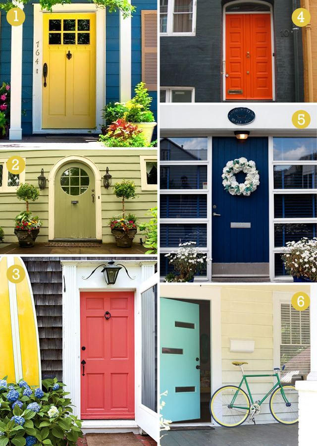 Colorful front doors - surfboard at front door