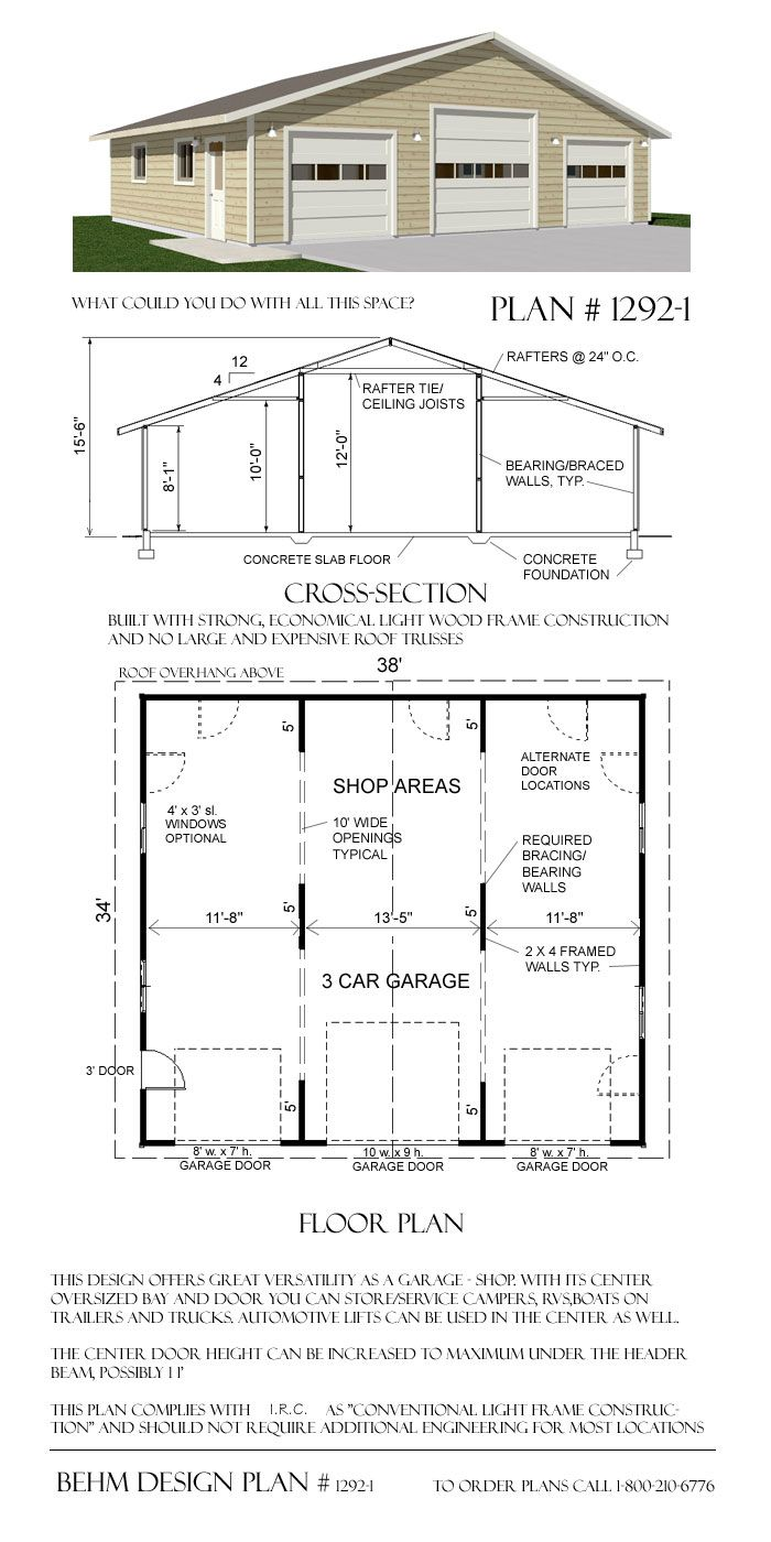 Over-sized 3 Car Garage Plans 1292-1 38' x 34' by Behm Design