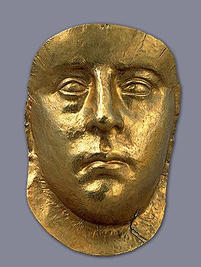 Burial mask of a king -- 3rd century AD -- Pantikapaion necropolis Kerch -- Gold. Panticapaeum (Ancient Greek: Παντικάπαιον Pantikápaion) was an important ancient Greek city on the eastern shore of Taurica, which is now the Crimean peninsula of Ukraine. The city was built on Mount Mithridat, a hill on the western side of the Cimmerian Bosporus. It was founded by Milesians in the late 7th or early 6th century BC. The ruins of the site are now located in the modern city Kerch.