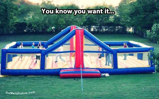 bouncy volleyball court... How much fun would THAT be?!?! Where do I get one?