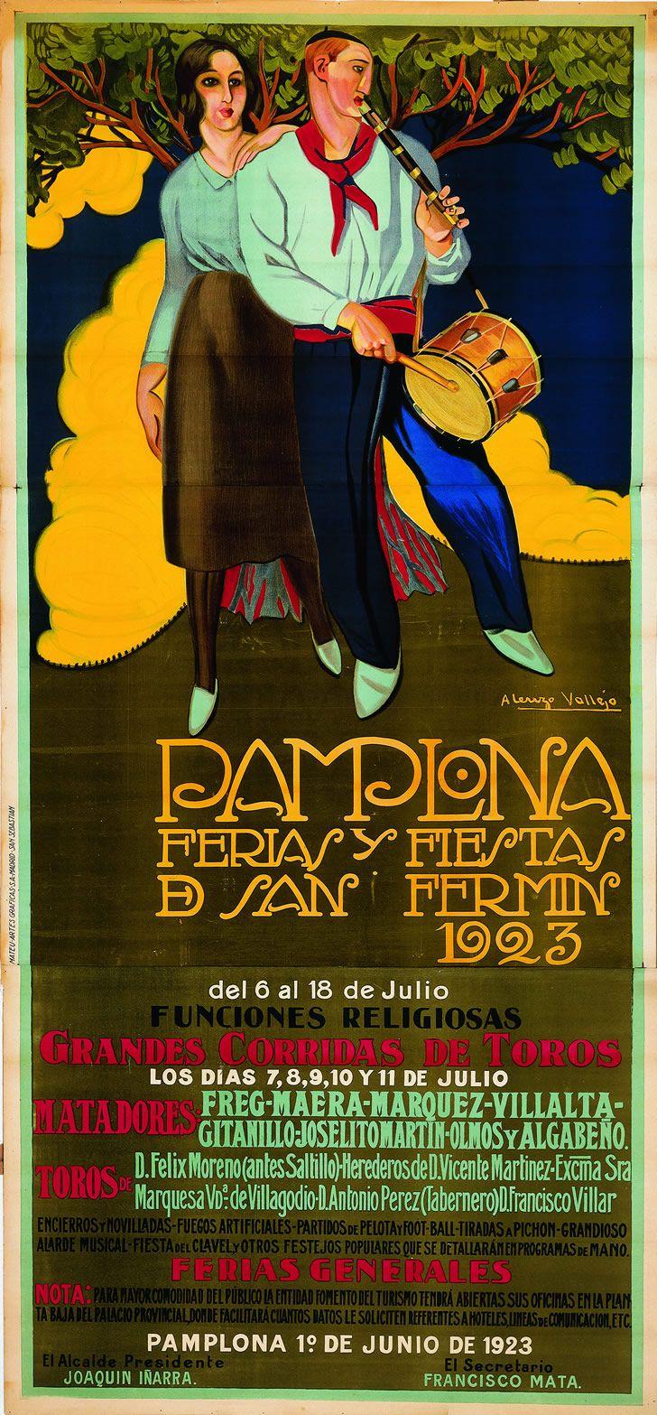 Cartel de los Sanfermines de 1923 - Fiestas y ferias de San Fermín, Pamplona :: Autor: Ángel Cerezo Vallejo #Pamplona