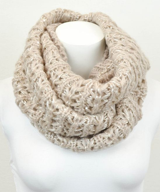 Khaki Accented Knit Infinity Scarf