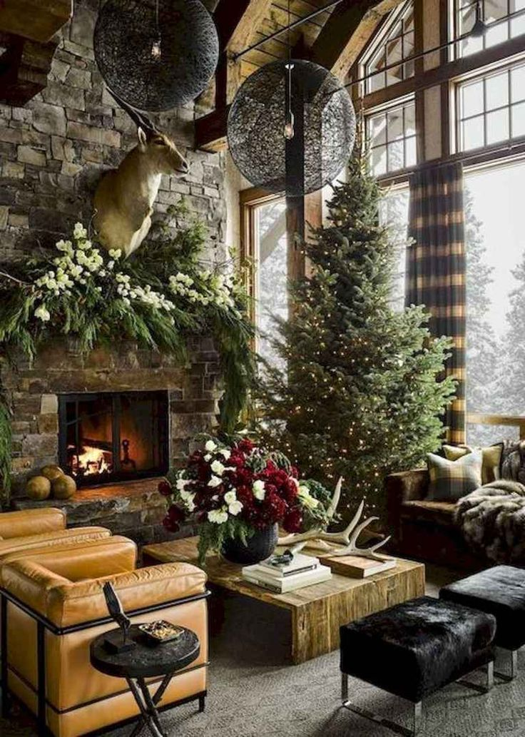 60 Stunning Log Cabin Homes Fireplace Design Ideas (36