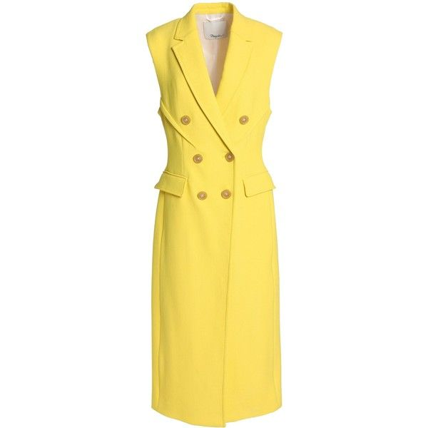 3.1 PHILLIP LIM   Double-breasted crepe gilet ($435) ❤ liked on Polyvore featuring outerwear, vests, double breasted vest, 3.1 phillip lim, yellow vest, gilet vest and double breasted waistcoat
