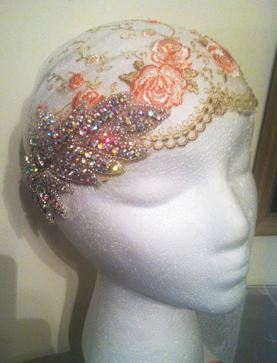 1920s Style Antique Lace with Crystal Bridal Cap