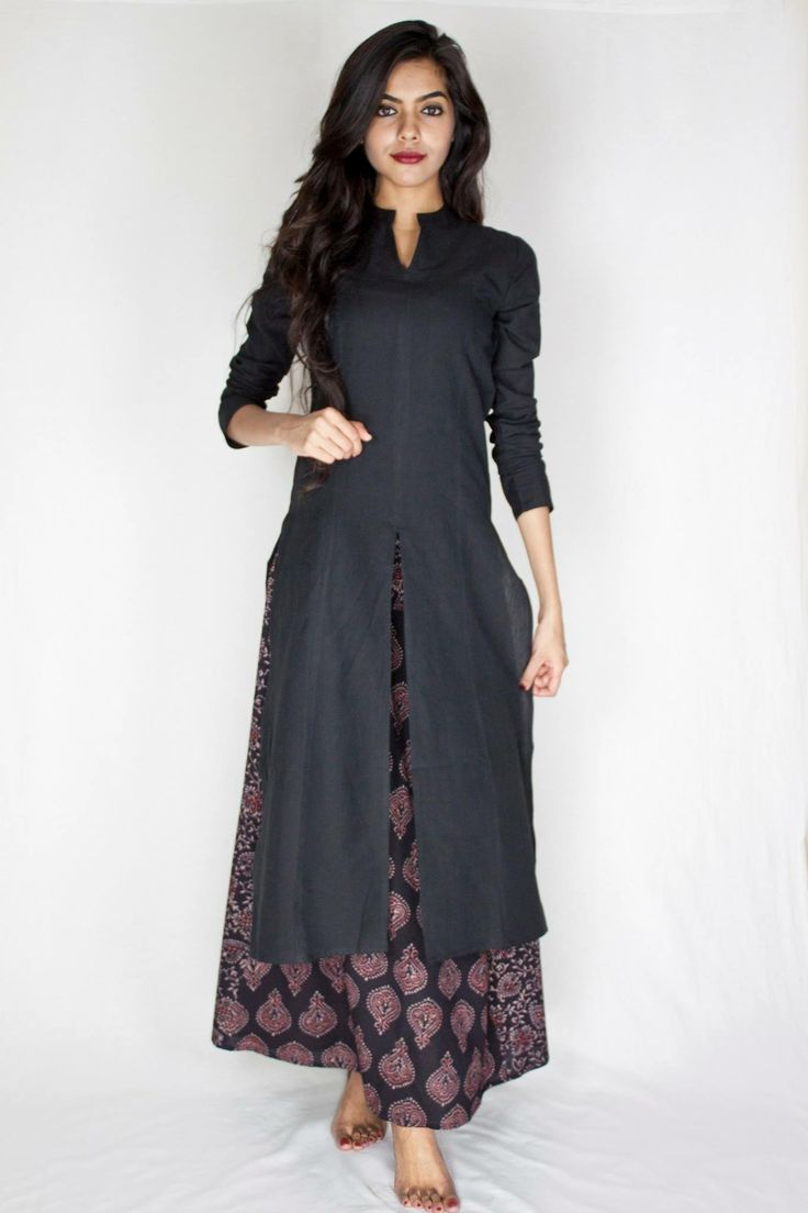 #black #plain #long #kurta #contemporary #style