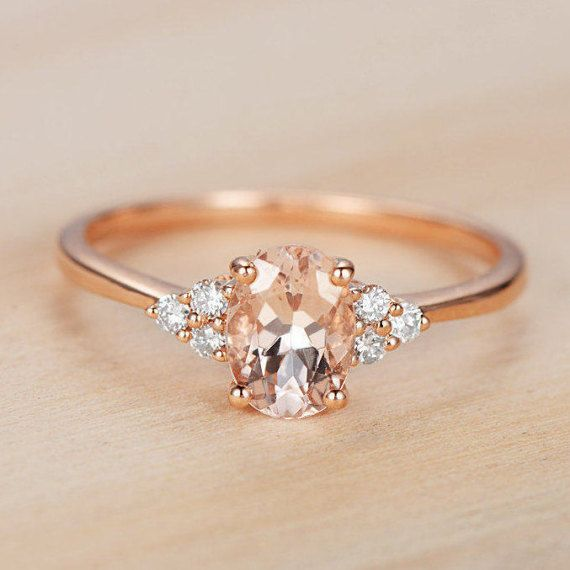 Morganite rose 14k or Rose Morganite diamant bague par DoriRing