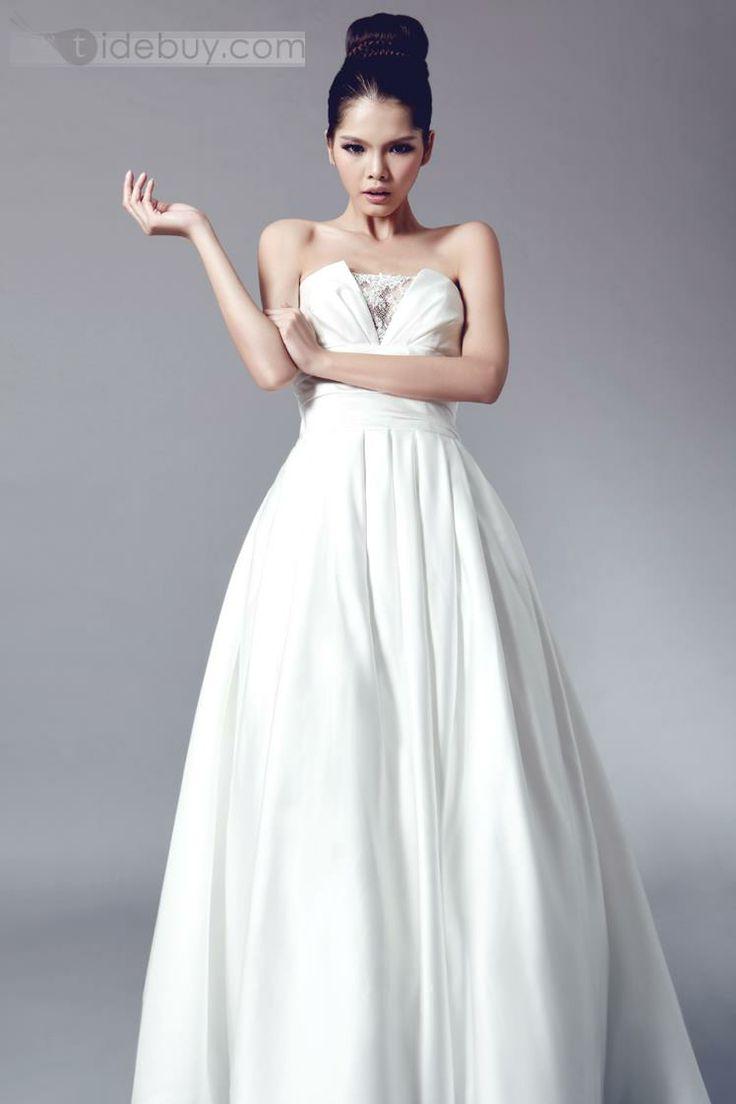 Simple Strapless A-Line Court Train Bowknot Wedding Dress
