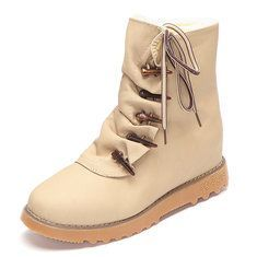 Designer Big Size Pure Color Warm Fur Lining Winter Ankle Snow Boots For Women - NewChic Mobile.