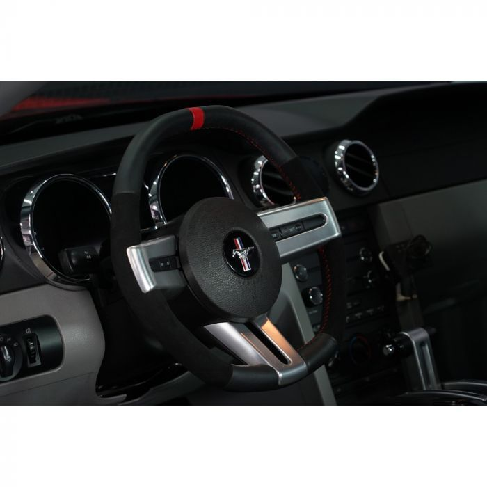 Accelatec Steering Wheel Black Leather With Red Stitching And Red Stripe Premium V6 Gt 2005 2009 Steering Wheel Wheel Mustang
