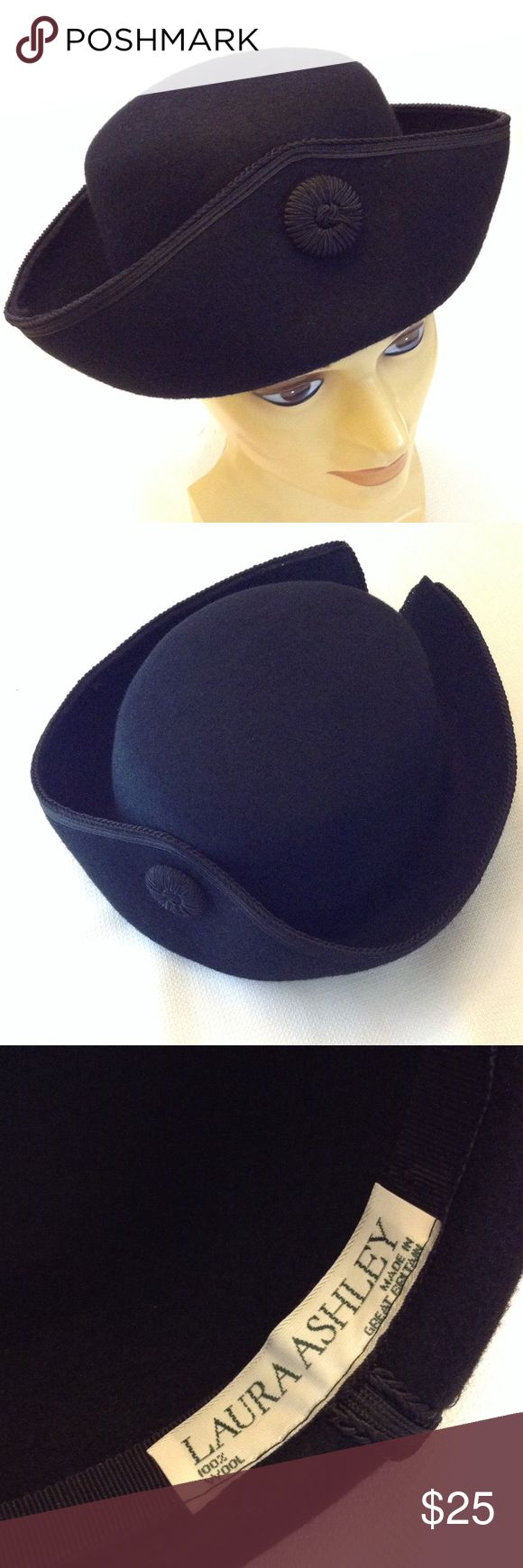 Laura Ashley Vintage Tricorn Wool Hat Vintage 80's or 90's, excellent condition, Paul Revere style Tricorn hat 100% wool, made in Great Britain. Laura Ashley Accessories Hats