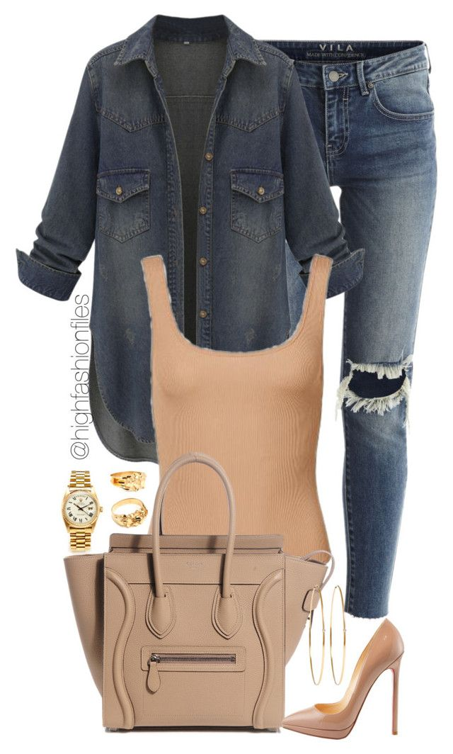 """Untitled #1940"" by highfashionfiles ❤ liked on Polyvore featuring VILA, Jennifer Meyer Jewelry, Rolex and Christian Louboutin"