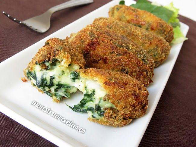 Croquetas de espinacas con queso mozzarella - http://www.monstruorecetas.es/2014/05/croquetas-de-espinacas-con-queso.html