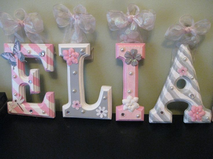 "CUSTOM - 6"" Grey and Pink Nursery Theme - Beveled Wooden Hanging Wall Letters for Nursery or Child's Bedroom by SoooooCute on Etsy https://www.etsy.com/listing/161339744/custom-6-grey-and-pink-nursery-theme"