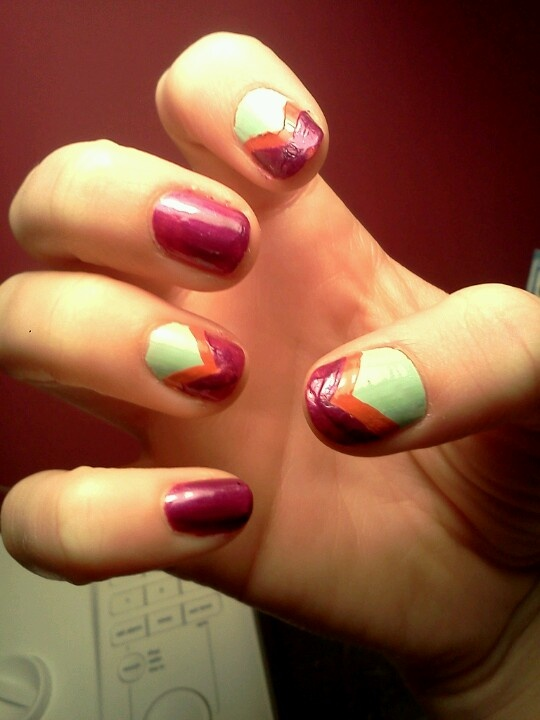 Mint, orange, and purple -- by Abby | nails | Pinterest