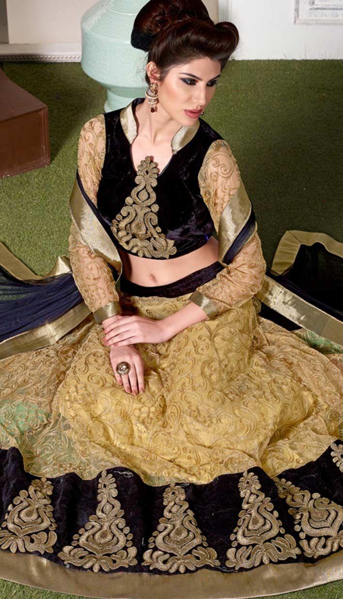 Buy Indian Designer Beige Nett #Bridal #LehangaCholi Product code: KBL-33570 Price: INR7953 (Unstitch Blouse), Color: Beige Shop Online now: http://www.efello.co/Bridal_Indian-Designer-Beige-Nett-Bridal-Lehanga-Choli_18394
