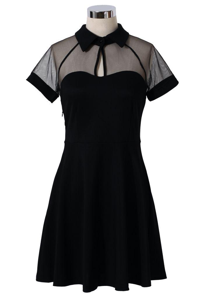 Mesh Peak Collar Skater Dress in Black - Dress - Retro, Indie and Unique Fashion