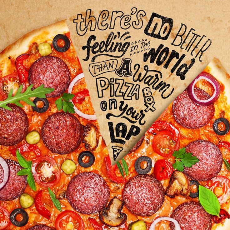 Ian Barnard Instagram. Mmmmm....Pizza!   Quote by Kevin James  #kevinjames #handlettering #typography #pizza #food #handdrawn #calligraphy #brushlettering #lettering #quote