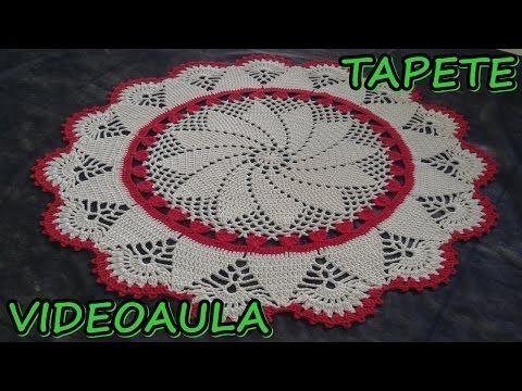 Patrón para tejer tapete/carpeta motivos piñas a crochet - YouTube