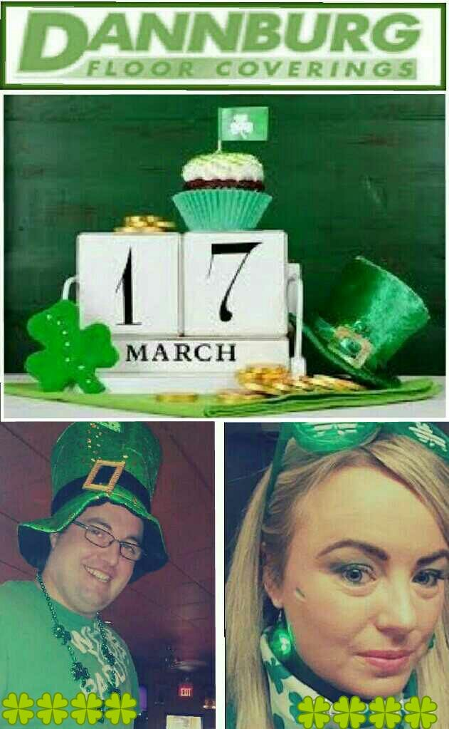 Happy St.Patricks Day 2015 - From all of us at Dannburg Floor Coverings, especially our two Irish Employees Paddy & Bernice.  Have a good one everyone - Cheers.