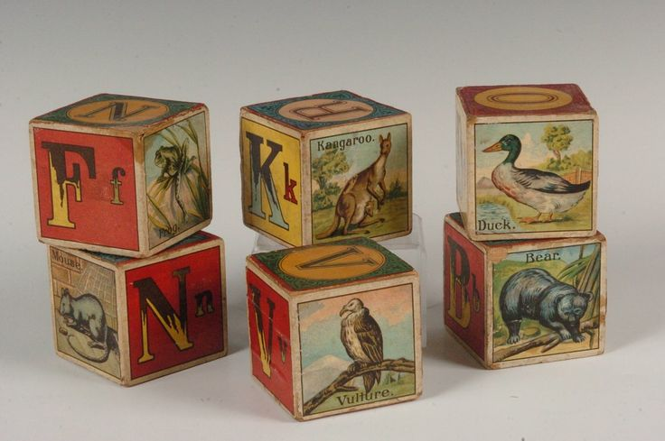 Vintage in blocks blocks tray animal wooden a abc