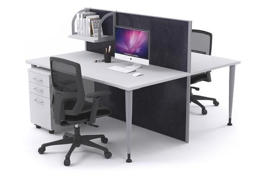 2 Person Workstation Desks With Acoustic Screens Silver Leg Horizon. The Horizon workstation is a fantastic new desking system that promotes employee privacy as well as collaboration. This affordable workstation is double sided with a full length divider to provide each worker with a personal work area.