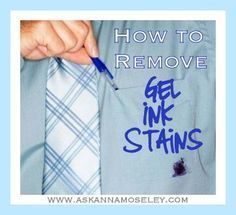 How to Clean Gel Ink Stains from Clothing - A reader asked me how to clean gel ink stains from clothing, because using hairspray won't remove gel stains.
