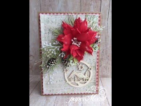 Christmas card with foamiran poinsettia