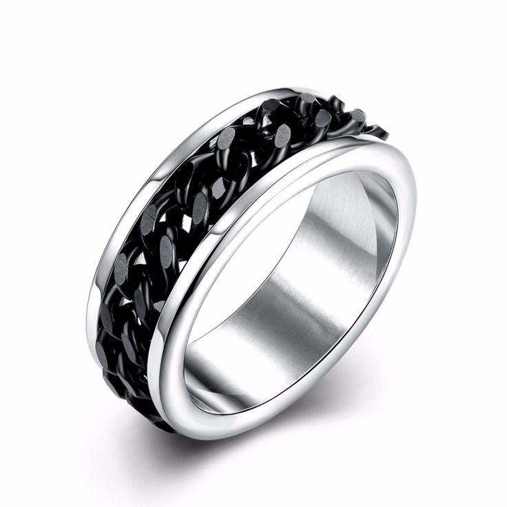 Black Men Stainless Steel Ring Jewelry Mens Super Titanium Wedding Rings Love Unusual Gift Items Jewelery TGR013 #Affiliate