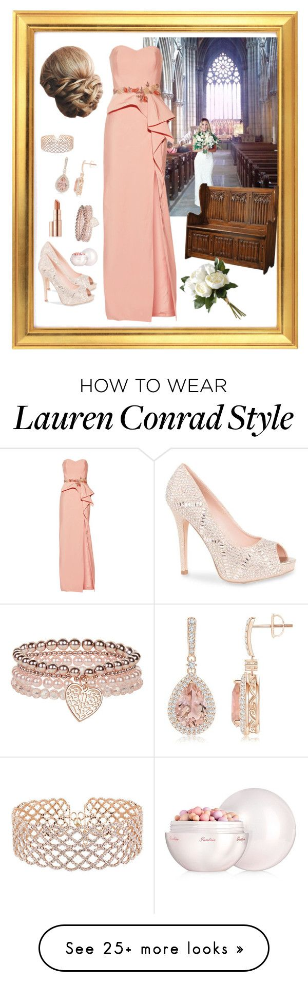 """""""Always the Bridesmaid - V"""" by mary-kay-de-jesus on Polyvore featuring Doncaster, Lauren Lorraine, Notte by Marchesa, Lauren Conrad, National Tree Company, Monsoon, WithChic, Estée Lauder and Guerlain"""