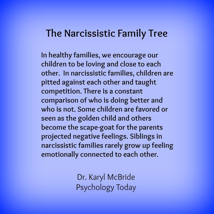 Siblings Not Encouraged to Be Close: In healthy families, we encourage our children to be loving and close to each other. In narcissistic families, children are pitted against each other and taught competition. There is a constant comparison of who is doing better and who is not.