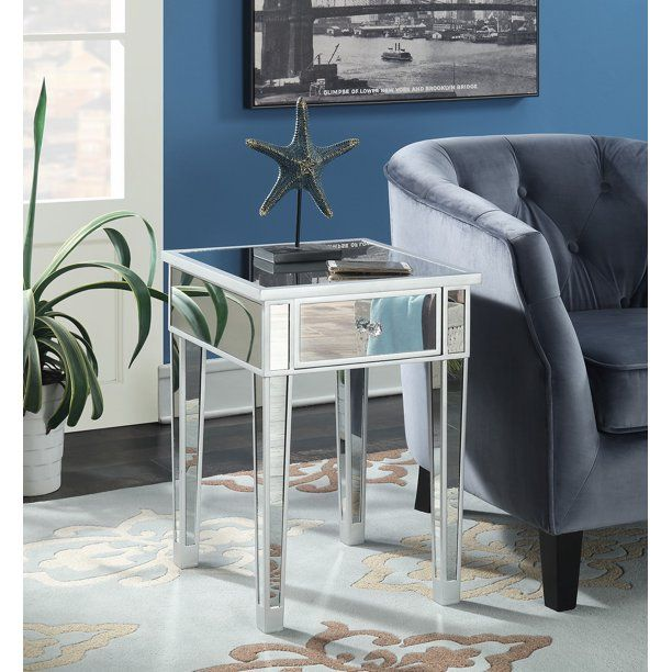 Convenience Concepts Gold Coast Mirrored End Table With Drawer Multiple Colors Walmart Com In 2020 Mirrored End Table End Tables With Drawers Living Room End Tables