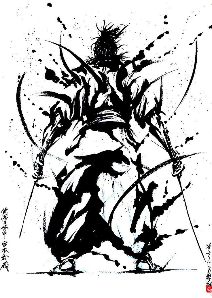 萌生堂 武人画師 こうじょう雅之 - 宮本武蔵 #こうじょう雅之 #武人画 #bujinga #墨絵 #武者絵 #picture of warriors