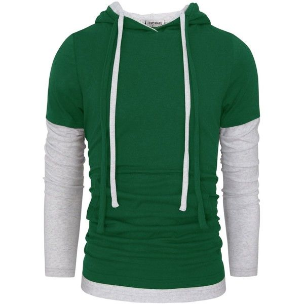 Tom's Ware Mens Stylish Two Toned Single Jersey Drawstring Hoodie... ($23) ❤ liked on Polyvore featuring men's fashion, men's clothing, men's hoodies, mens hoodies, mens hoodie, mens hooded sweatshirts, mens green hoodie and mens jerseys