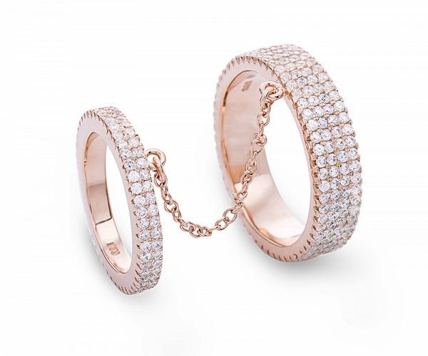 Doppelring aus Sterling Silber mit Zirkonia Kristallen / Rose gold plated sterling silver double ring with zirconia crystals