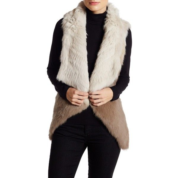 Mitchies Ombre Genuine Rabbit Fur Vest (27115 RSD) ❤ liked on Polyvore featuring outerwear, vests, open front vest, sleeveless vest, vest waistcoat, shawl collar vest and rabbit fur vest