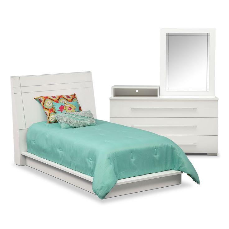 Dimora 5-Piece Twin Panel Bedroom Set With Media Dresser - White