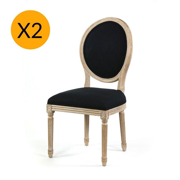 X2 French Provincial Round Side Dining Chair Black - Black Mango