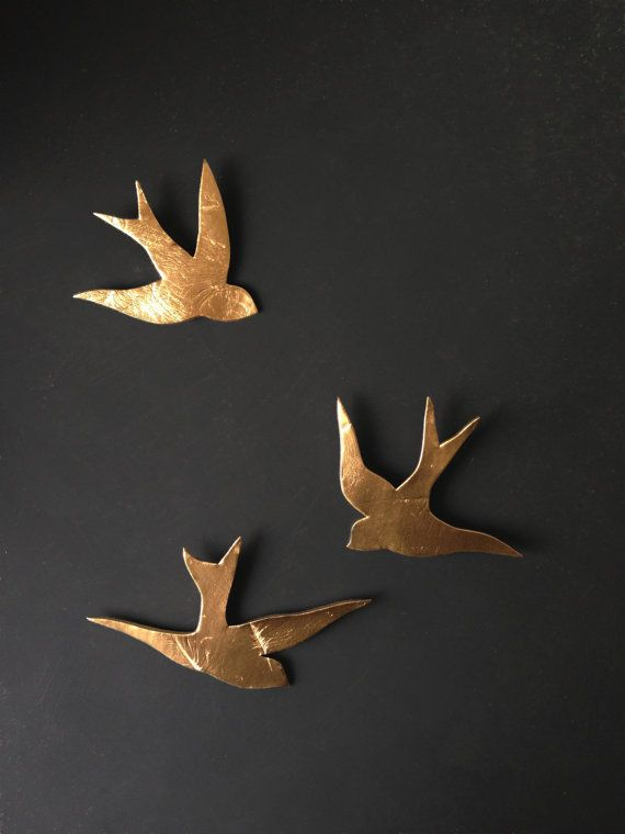 We fly together gold porcelain wall art swallows modern for Bird wall art