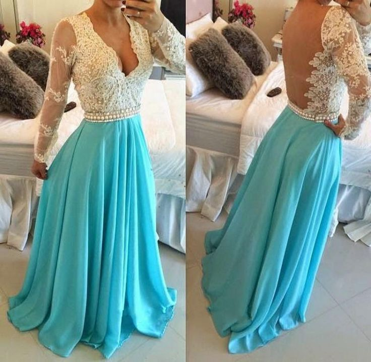 Blue And White Prom Dresses, Discount Prom Dresses, Lace Chiffon Prom Dresses…