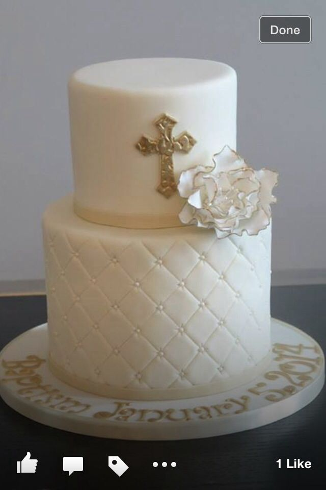 Cream baptism cake with gold accents!                                                                                                                                                     More