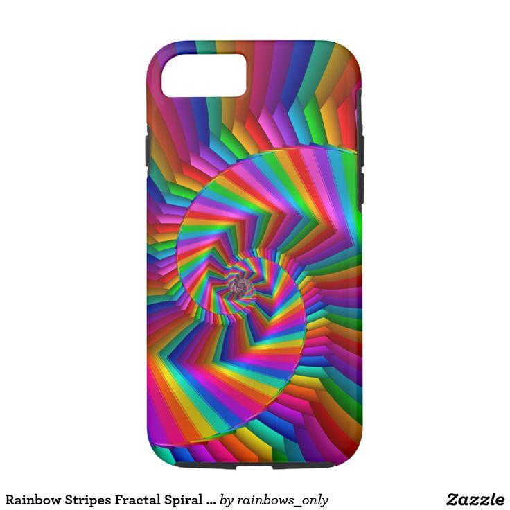 Rainbow Stripes Fractal Spiral Tough iPhone 7 Case
