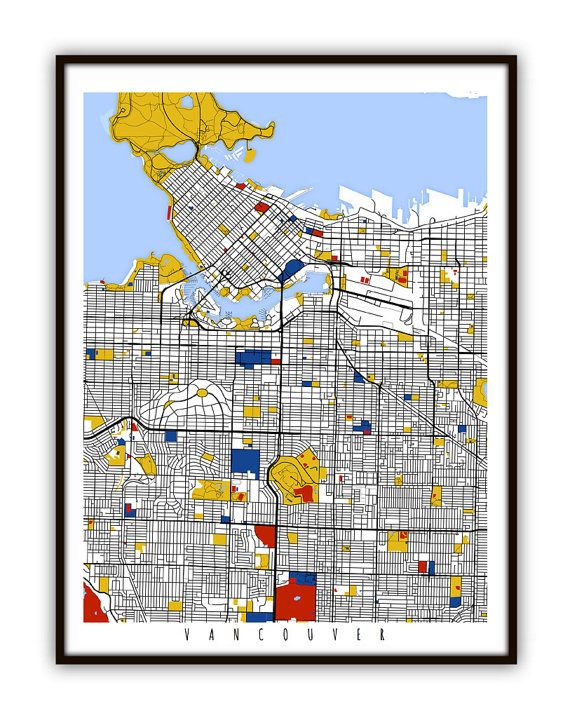 Vancouver Map Art / Vancouver, Canada Wall Art / Print / Poster / Modern Home Decor
