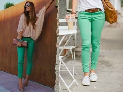 С чем носить зеленые джинсы?
