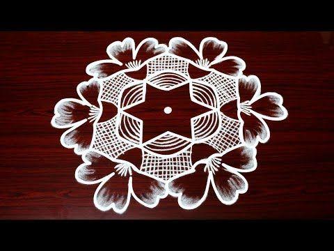 simple and big kolam designs with 7 dots - innovative rangoli design - chukkala muggulu - YouTube